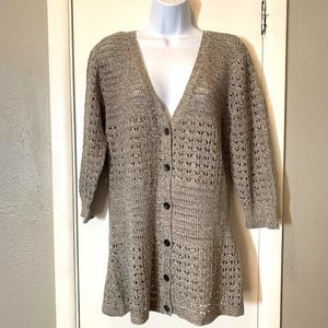 NWT DKNY Jeans Brown White Loose Knit Sweater XL